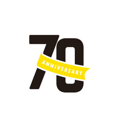 70 years anniversary number with yellow ribbon vector