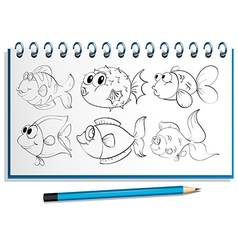 A notebook with a doodle design at the cover page vector image