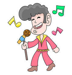 A singing man carrying an elvis presley style mic vector