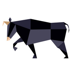 Abstract low poly bull icon vector