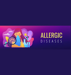 Allergic diseases concept banner header vector