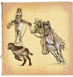 An hand drawn colored line art - Rodeo vector image