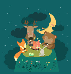 Animals resting around bonfire vector