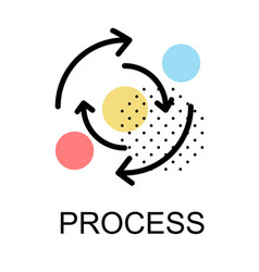 arrows direction with circle icon for process vector image