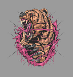 bear grizzly angry v artwork ector vector image