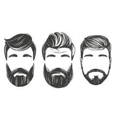 bearded man in profile barbershop hairstyle vector image