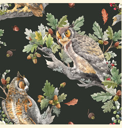 Beautiful seamless autumn forest pattern vector