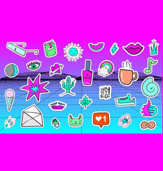 big set of vaporwave styled colorful modern vector image