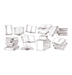 books hand drawn set open diary vector image