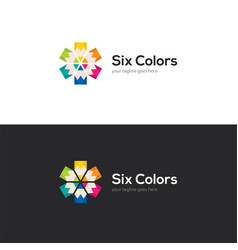 Bright logo with six colorful pencils vector