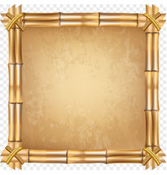 Brown dry bamboo stick border on transparent vector