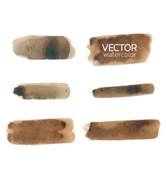 brown watercolor brush strokesset brush vector image