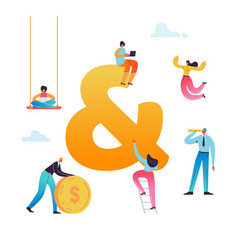 business character working together ampersand sign vector image