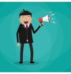 Businessman holding a megaphone vector image