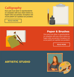 Calligraphy workshop paper and brushes artistic vector