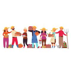 cartoon farmers group farm family working man vector image