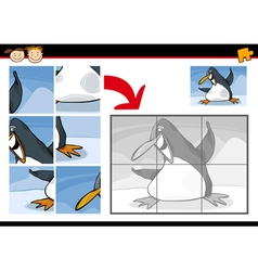 Cartoon penguin jigsaw puzzle game vector