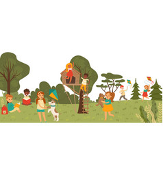 Cheerful group kid character playing together in vector