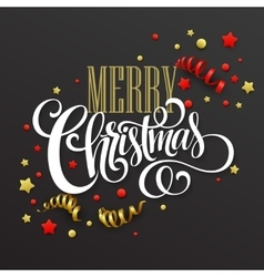 Christmas card with confetti and ribbons vector