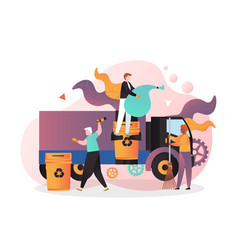 cleaning street concept for web banner vector image