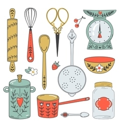 Colorful collection baking items cute vector