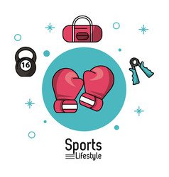 Colorful poster of sports lifestyle with boxing vector
