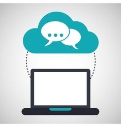 Computer cloud bubble speak connection network vector