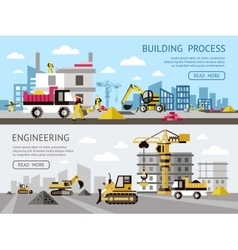 Construction Colored Banner Set vector image
