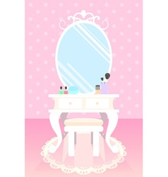 Cosmetics on make up table in pink room polka dot vector