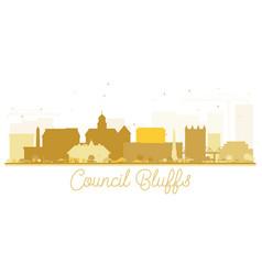 Council bluffs skyline golden silhouette vector