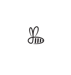 Creative bee black insect abstract logo vector
