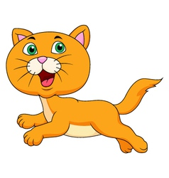 Cute cat cartoon running vector image