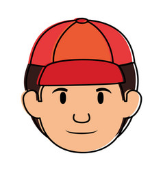 Delivery worker head avatar character vector