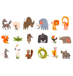 Detailed flat set of funny animals horse vector