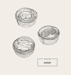 dim sum of chinese cuisine vector image