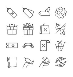 discount and sale line icon set vector image