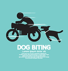 Dog Biting A Man On A Motorcycle vector image