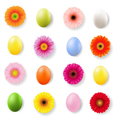 easter day banner with eggs and gerbers vector image