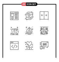 Editable line pack 9 simple outlines label vector