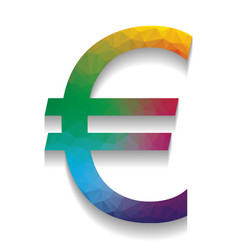 euro sign colorful icon with bright vector image