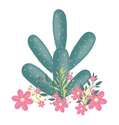 Exotic cactus plant with floral crown vector