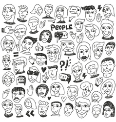 Faces - big doodles collection vector image