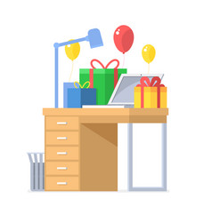 Festive office workplace with gifts vector