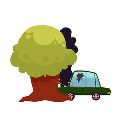 Flat cartoon crashed into tree car accident vector