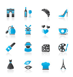 France culture and industry icons vector