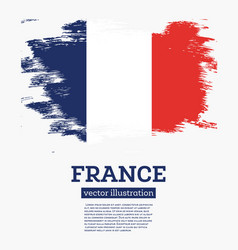 France flag with brush strokes vector