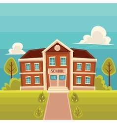 Front view school building cartoon vector