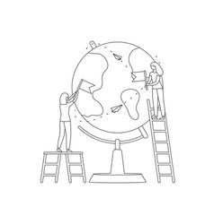 girl mark location globe pin checkbox line vector image