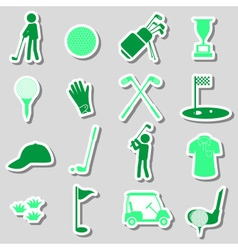 golf sport simple black stickers set eps10 vector image