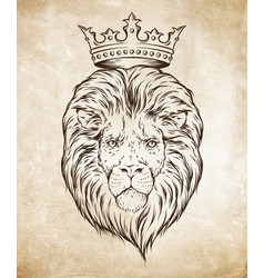 Hand drawn crowned lion head over grunge paper vector